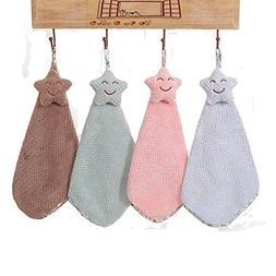 LifeWheel 4 Pcs Cute Star Hand Towels Absorbent Hanging Hand