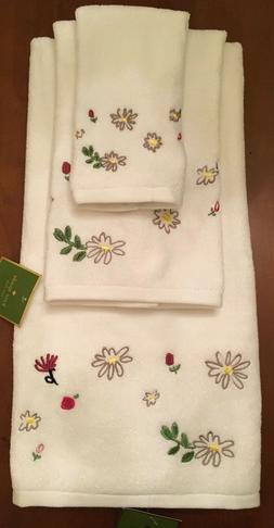 KATE SPADE DAHLIA SET OF 3 TOWELS  WHITE FLORAL NEW