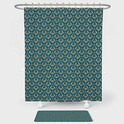 iPrint Damask Shower Curtain And Floor Mat Combination Set R