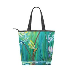 LORVIES Dancing With Dragonflies Canvas Tote Bag Zippered Sh