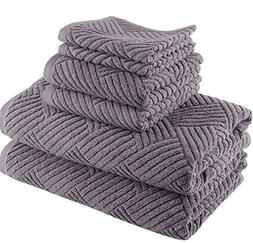 6 Piece Dark Grey Basket Weave Geometric Towel Set With 30 X