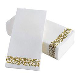 Pack of 100 Guest Towels Linen-Feel Floral Paper Hand Dispos