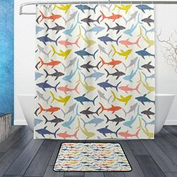 Multi Colored Decorative Hand-drawn Sharks Silhouette Patter