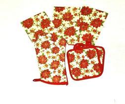 Decorative Kitchen Dish Hand Towels Poinsettia Flower Print
