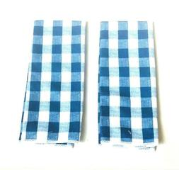 2 Kitchen Hand Dish Towels Blue & White Plaid Summer Barbecu