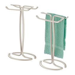 mDesign Decorative Metal Countertop Standing Guest Hand Towe