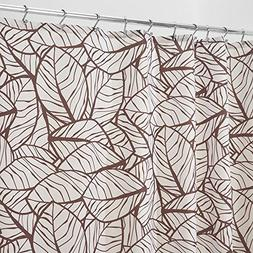 mDesign Decorative Tropical Leaves Print Easy Care Fabric Sh
