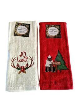 Rustic Woods Hand Towels Set Of 2 Deer Bear Country Cabin Lo