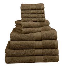 Divatex Home Fashions 10-Piece Deluxe Towel Sets, Espresso