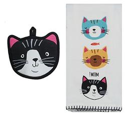 Kay Dee Designs Crazy Cats Kitchen Towel bundle with Pothold
