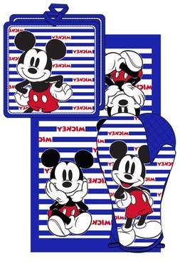 Disney Oven Mitt towel 3 piece Kitchen Set Mickey Mouse Stri