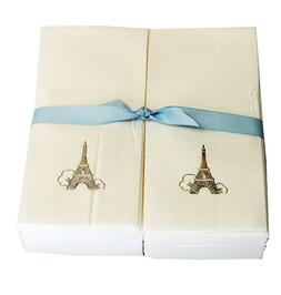 Disposable Guest Hand Towels with Ribbon - Embossed with a S