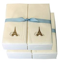 Disposable Guest Hand Towels with Ribbon - Embossed with a G