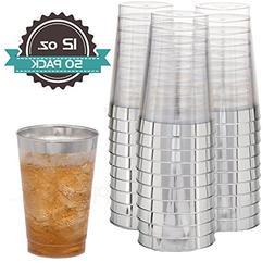 Disposable Plastic Tumbler Cups | 12 oz - 50 Pack | Elegant
