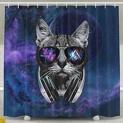 Dj Cat Galaxy Eyes Shower Curtain Fabric Bathroom Shower Cur