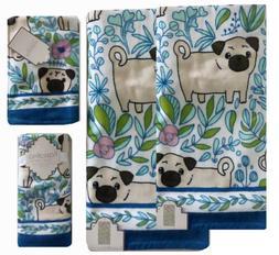 Kassafina Dog Pug Garden 5 pc Towel Set, 2 Bath, 1 Hand, 2 F
