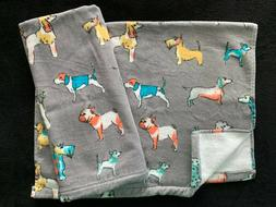 CYNTHIA ROWLEY - DOGS - GREY AQUA CORAL GOLD - HAND TOWELS S