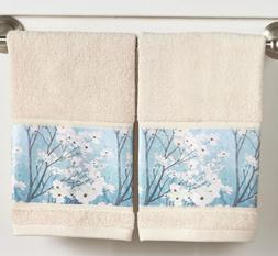 Dogwood Hand Towels Set Blue Border Floral Blooms Trees Prin