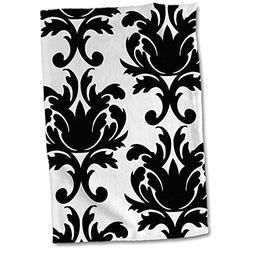 3D Rose Large Elegant Black and White Damask Pattern Design