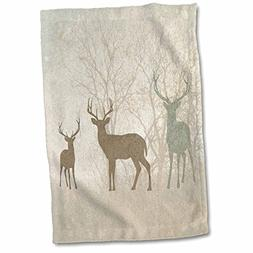 3D Rose Deer Silhouettes Set Against Faded Forest Background