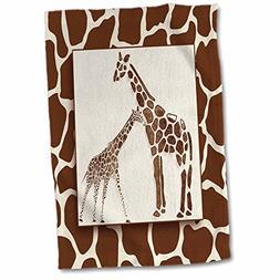 3dRose Two Watercolor with Giraffe Animal Print Jungle Safar
