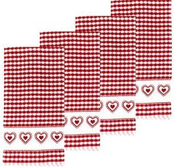 Double Heart Terrycloth Kitchen Towels, Set of 4