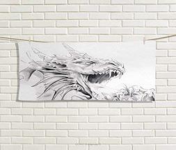 Dragon,Hand Towel,Sketch A Medieval Spiritual Character Myth