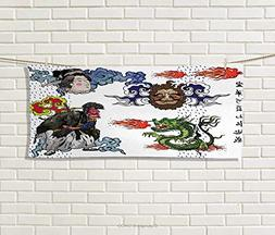 Anniutwo Dragon,Hand Towel,Japanese Manga Figures Dragon Fir