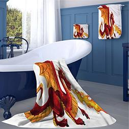 alisoso Dragon large hand towels set Funny Fire Spitting Win