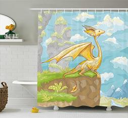 Ambesonne Dragon Shower Curtain, Fantastic Winged Animal on