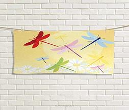 Anniutwo Dragonfly,Hand Towel,Flower Field in Spring Season