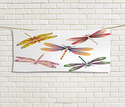Dragonfly,Hand Towel,Five Spiritual Bugs in Modern Abstract