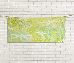 Anniutwo Dragonfly,Hand Towel,Dragonfly Silhouettes Over Rou