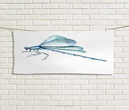 Anniutwo Dragonfly,Sports Ttowel,Hand Drawn Watercolor Drago