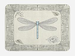Ambesonne Dragonfly Bath Mat, Hand Drawn Royal Ancient Style
