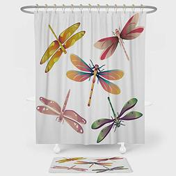 iPrint Dragonfly Shower Curtain And Floor Mat Combination Se