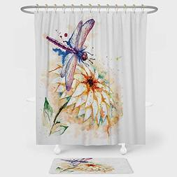Dragonfly Shower Curtain And Floor Mat Combination Set Water