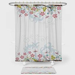 Dragonfly Shower Curtain And Floor Mat Combination Set Vivid