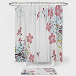Dragonfly Shower Curtain And Floor Mat Combination Set Drago