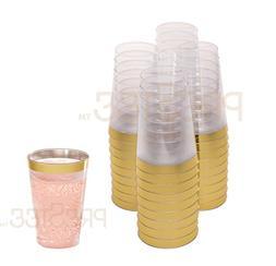 DRINKET Gold Plastic Cups 12 oz Clear Plastic Cups / Tumbler