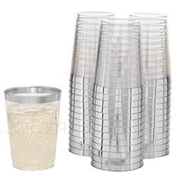 DRINKET Silver Plastic Cups 10 oz Clear Plastic Cups / Tumbl