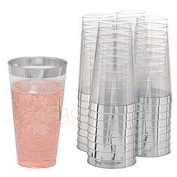 DRINKET Silver Plastic Cups 16 oz Clear Plastic Cups / Tumbl