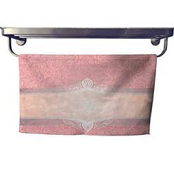 homecoco Dry Fast Towel Pink & Silver Retro Decorative Invit