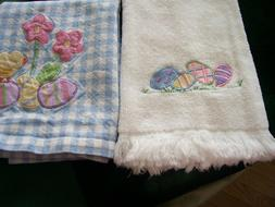 Easter kitchen towels 1 Used Willams sonoma Blue Gingham 1 N