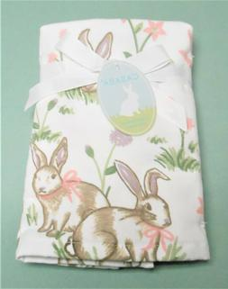 Casaba Easter Set of 2 Hand White Towels Printed Rabbits and