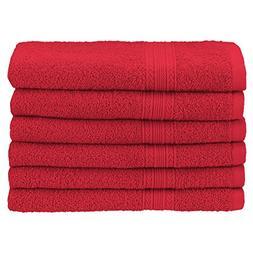 Superior Ringspun Cotton, 6 PC Hand Towel Set-Cranberry