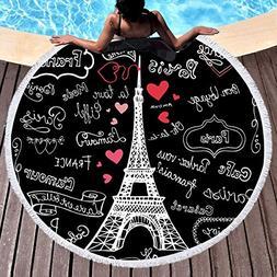 Sleepwish Eiffel Tower Beach Towel Beach Towels with Letters