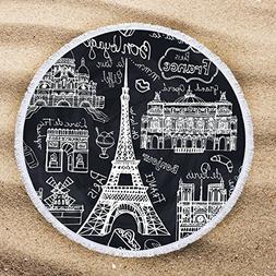 ARIGHTEX Eiffel Tower Beach Towel Teens France Round Beach M