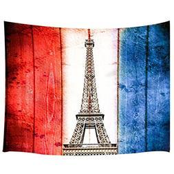 JAWO Eiffel Tower France Flag Pattern Wall Hanging Decoratio