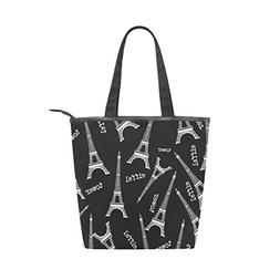 LORVIES Eiffel Tower Pattern Canvas Tote Bag Zippered Should